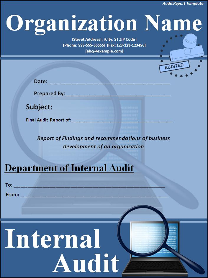 Audit Report Cover Page Template - Free Report Cover Page Template
