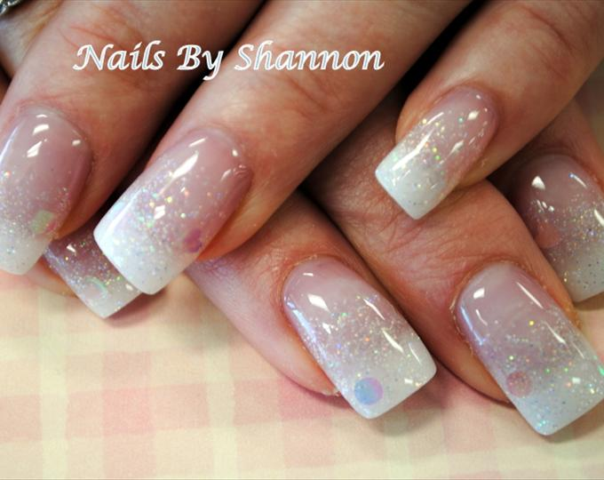 15 White Glitter Nail Designs Images Glitter Fade Nail
