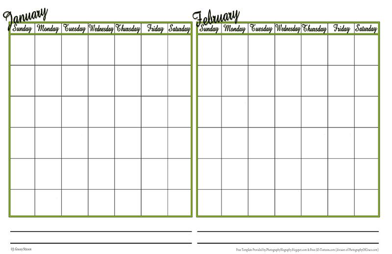 Blank 7 Day Calendar