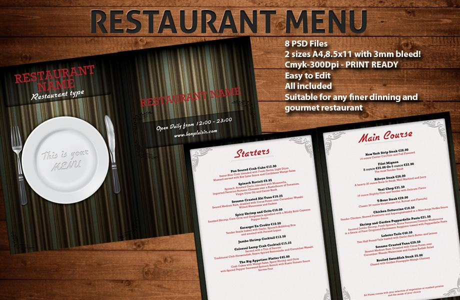 14 Free Psd Restaurant Menu Template Images - Restaurant Menu