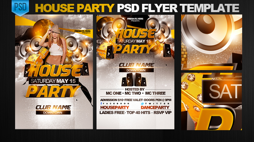 11 House Party Flyer PSD Images - House Party Flyer Template, Summer