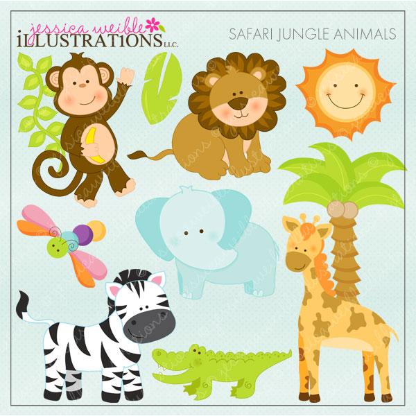 16 Safari Animal Templates Images - Jungle Animals Baby Shower Clip