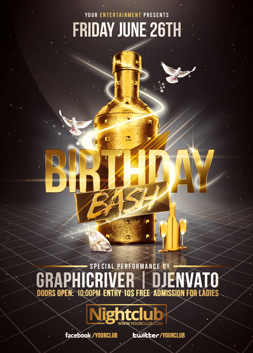 17 Birthday Flyer Free PSD Images - Birthday Party Flyer Templates