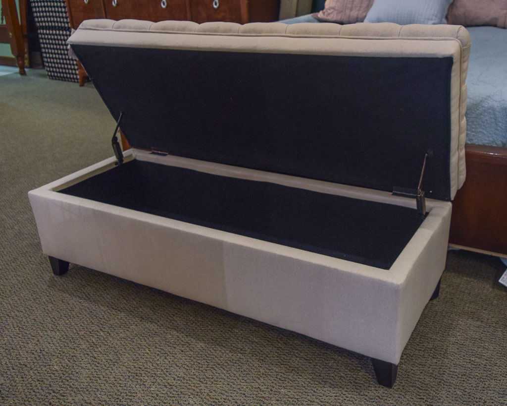 Linen Tufted Storage Ottoman New England Home Furniture