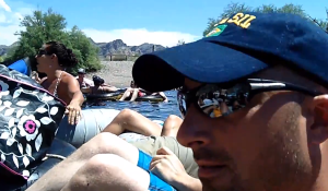 Rhonda Swan and Sandro Marino having a blast on the Salt River