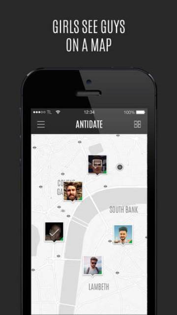 antidate app page showing the guys on a map for a female user