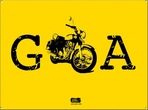 goa bike heavy metal sign