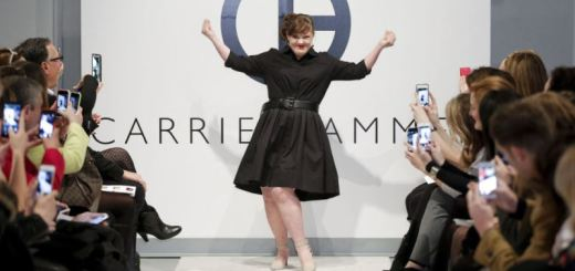 jamie brewer having a ball on the runway at new york fashion week