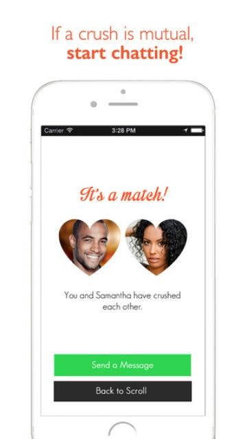 urban crush app page showing a mutual 'crush'