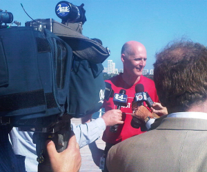 Florida Gov. Rick Scott meeting with the media on board Carnival Imagination at the Port of Miami Nov. 4..