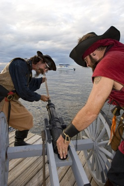 A professionally choreographed re-enactment of Black Caesar's return — complete with artillery line, encampments, battles and skits on Blackwater Sound is expected Saturday, Oct. 24. Photos by Bob Care/Florida Keys News Bureau