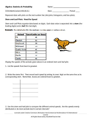 New Math Teacher Resources including Math Lessons, Activities - statistics worksheet