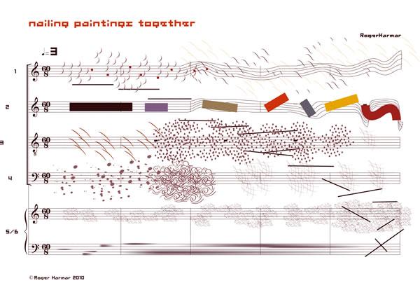 Roger Harmaru0027s Nailing Paintings Together score NOTATION - baseball score sheet
