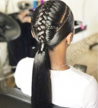 French Braid Into Ponytail Black Hair - Image Of Black ...