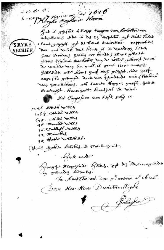 Peter Schagen Letter Reporting Purchase of Manhattan Dutch Treat