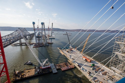 November 16, 2016 - The main span roadway continues to grow from the bridge's iconic towers.