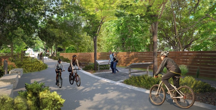 A conceptual rendering of the SUP side path alongside the Esposito Trail.