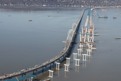 April 6, 2016 – Piers highlight the path of the new twin-span crossing.