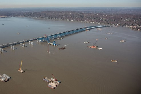 April 6, 2016 – Steel girders now connect the Rockland shoreline to concrete piers more than a mile out in the Hudson River.