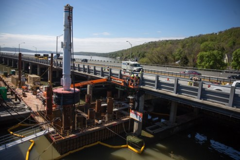 April 30, 2016 - The Tappan Zee Bridge's road deck is restored after an overnight operation.
