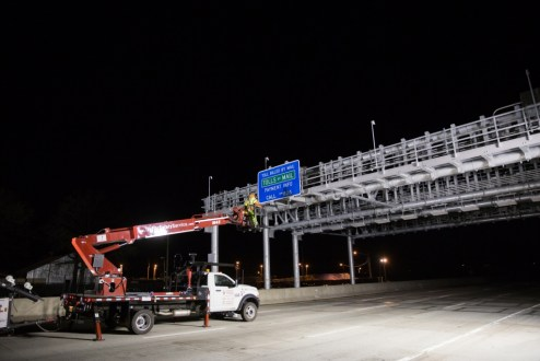 April 23, 2016 - An overhead gantry is prepared for the activation of the Tappan Zee's cashless tolling system.