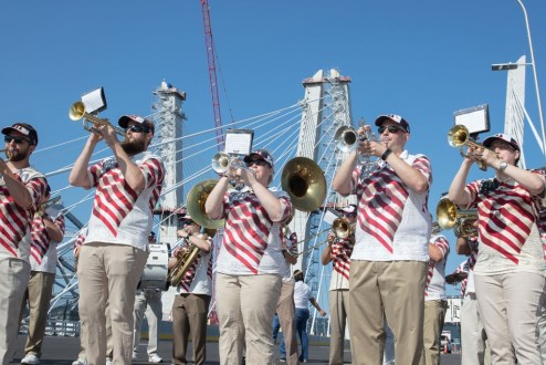August 24, 2017 - The Tappan Zee Bridgemen, a local marching band plays for the crowd at the opening ceremony.