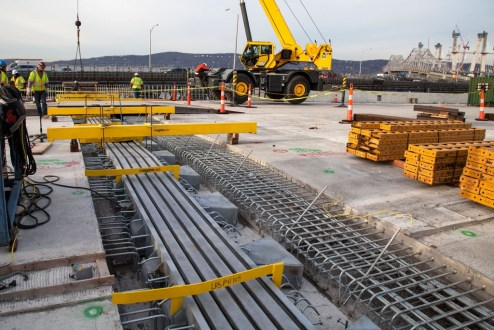 December 13, 2016 - An expansion joint is installed in the new bridge's roadway to absorb the slight expansion and contraction of steel and concrete.