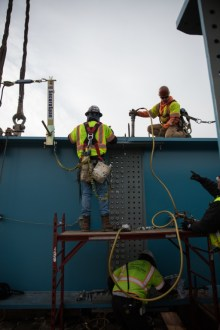 December 15, 2017 - Rivets are used to connect two 8-foot-tall girders.