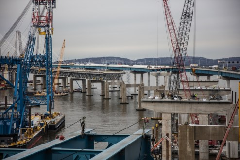 December 15, 2017 - The project team prepares the new second span's concrete piers at the Westchester approach.