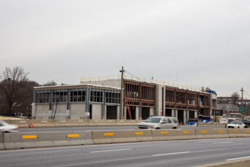 December 15, 2017 - Construction progresses on the New York State Thruway Authority's new maintenance facility in Tarrytown.