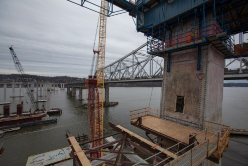 February 4, 2016 - The main span towers are prepared for the installation of a precast crossbeam.
