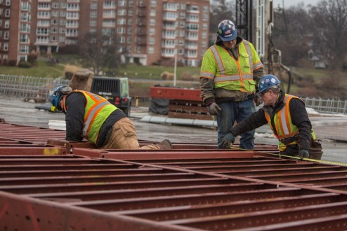 February 1, 2017 - Workers adjust pier formwork on the Rockland approach.