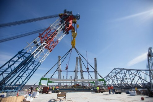 February 17, 2017 - The project's largest crane, I Lift NY, helps connect the main span to the Rockland approach.