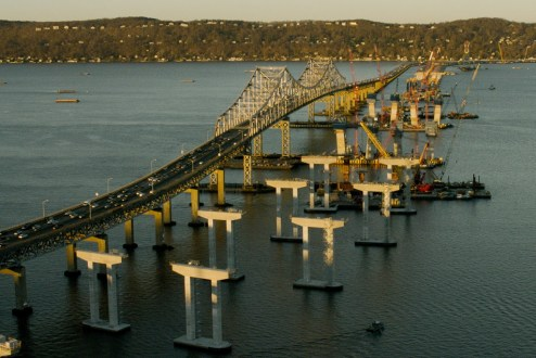 December 16, 2015 - The new bridge piers for the Westchester approach.