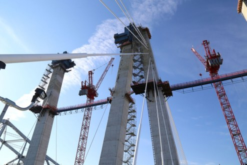 November 28, 2016 - Stay cables are anchored to the interior of the concrete towers to support the weight of the main span roadway.