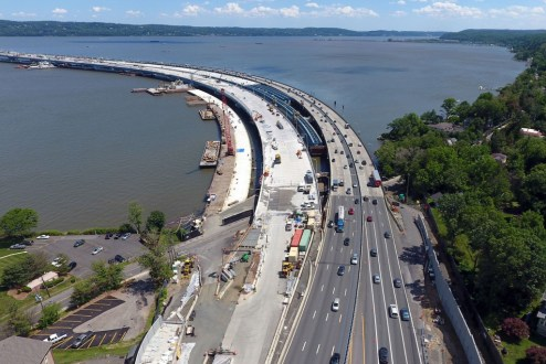June 9, 2017 - The new bridge's westbound landing is scheduled to connect to the New York State Thruway later this year.
