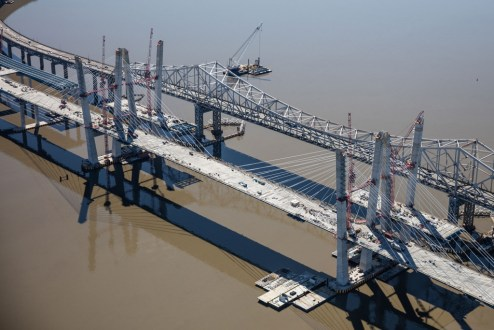 April 9, 2017 - The cable-stayed westbound main span is supported by 96 stay cables.