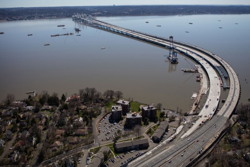 April 9, 2017 - The westbound span is connected to the Rockland landing.