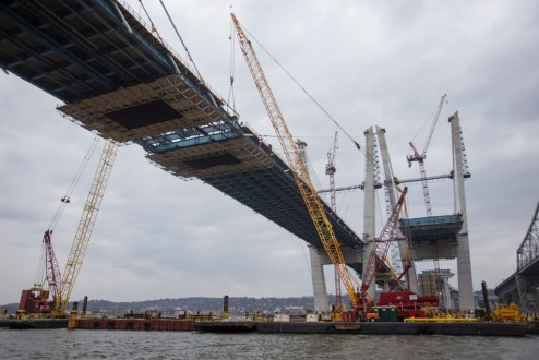 March 25, 2017 - With the installation of a final section of structural steel, the westbound bridge is connected from Westchester to Rockland counties.