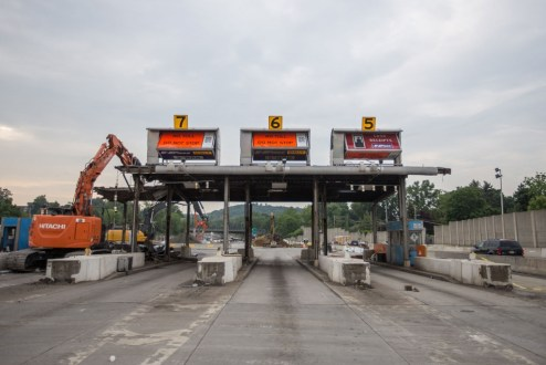 May 27, 2016 - Crews demolish the former toll plaza in Tarrytown.