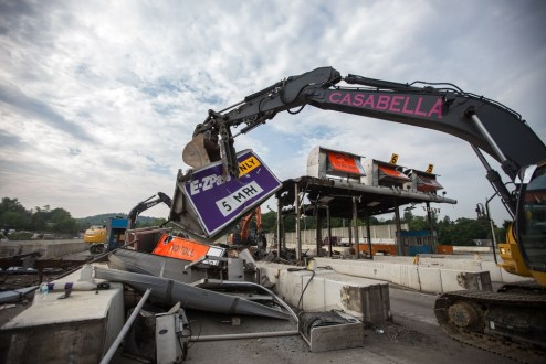 May 27, 2016 - Casabella Contracting of NY, a  woman-owned business, assists with the demolition of the former toll plaza in Tarrytown.