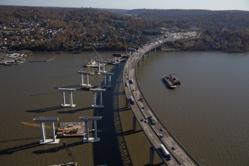 November 16, 2015 - Towering piers near the Westchester shoreline are prepared for structural steel installation.