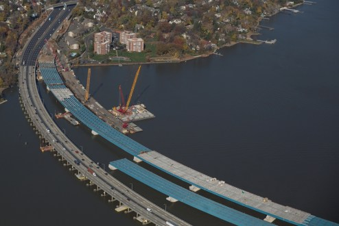 November 16, 2015 - The new bridge's concrete deck panels can weigh as much as 74,000 pounds each.