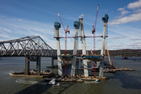 October 26, 2016 - The westbound towers reach their final height, 419 feet above the Hudson River.