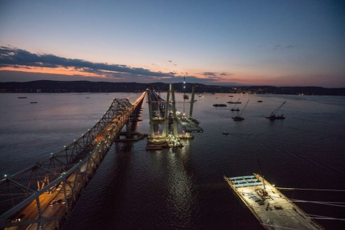 November 16, 2016 - The new main span roadway takes shape alongside the existing Tappan Zee Bridge.