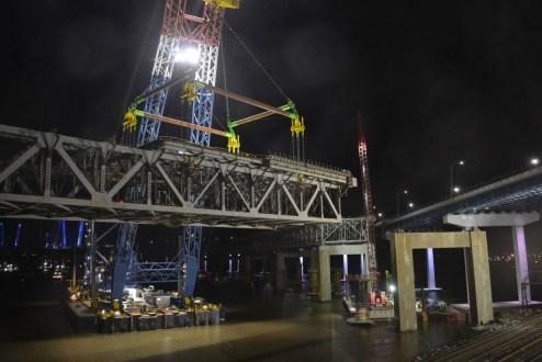 November 11, 2017 - I Lift NY raises a large section of the old bridge near the Westchester landing.