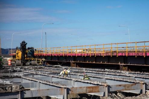 October 12, 2017 - Demolition progresses on the old bridge's Westchester landing.