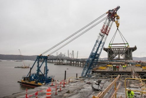 November 7, 2017 - The I Lift NY super crane is used to remove a large section of the Tappan Zee Bridge near the Westchester shoreline.