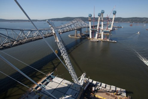 September 14, 2016 - The main span roadway continues to grow from the bridge's iconic towers.