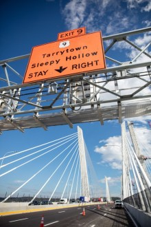 October 6, 2017 - Temporary signs are installed on the first span.
